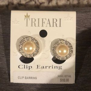 Silver, Pearl and diamond clip on earrings